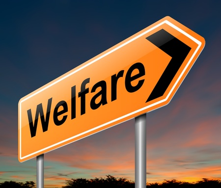 on the dole: Illustration depicting a sign with a welfare concept  Stock Photo