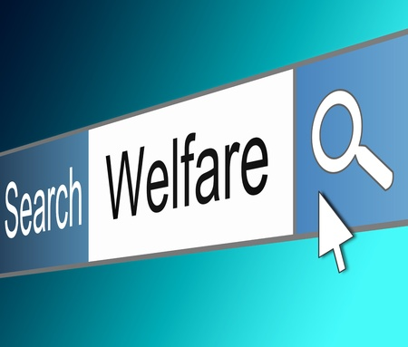 contentment: Illustration depicting a screen shot of an internet search bar containing a welfare concept   Stock Photo