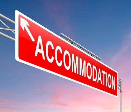 accommodation: Illustration depicting a sign with an accommodation concept  Stock Photo