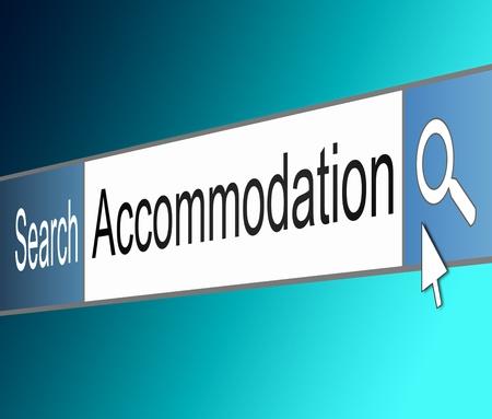 hospedaje: Ilustración que muestra una captura de pantalla de una barra de búsqueda en Internet que contiene un concepto de alojamiento