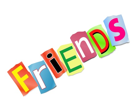 Illustration depicting a set of cut out printed letters arranged to form the word friends  Stock Photo