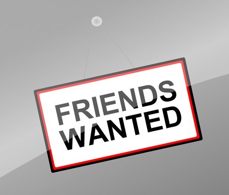 pal: Illustration depicting a sign with a friends wanted concept