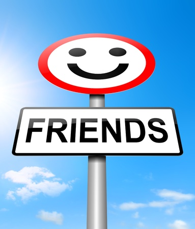 Illustration depicting a sign with a friends concept