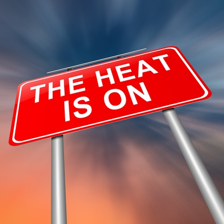 pressurized: Illustration depicting a sign with a heat is on concept. Stock Photo