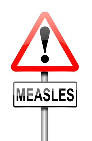 infirmity: Illustration depicting a sign with a measles concept. Stock Photo