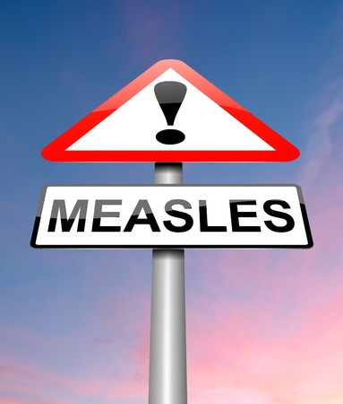 epidemic: Illustration depicting a sign with a measles concept. Stock Photo