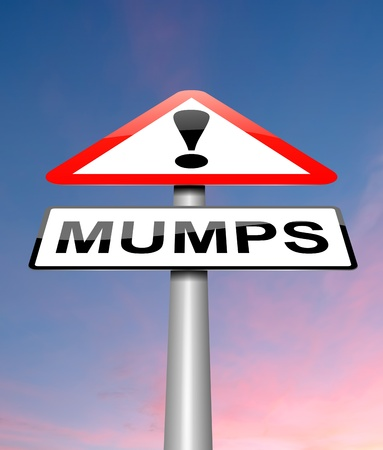 malady: Illustration depicting a sign with a mumps concept.