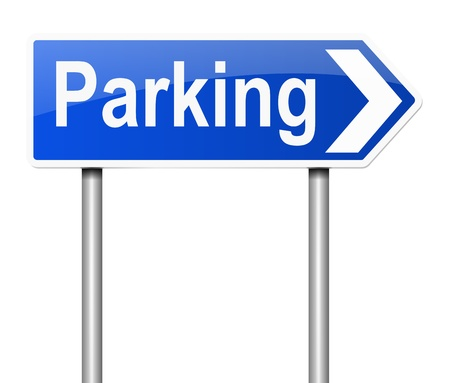 car park: Illustration depicting a sign directing to parking. Stock Photo