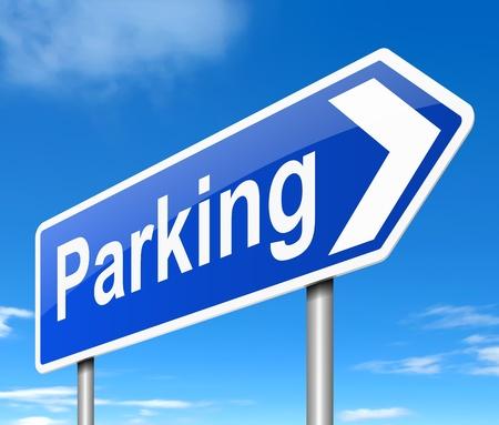 Illustratie die een teken afschildert dat tot parkeren leidt. Stockfoto