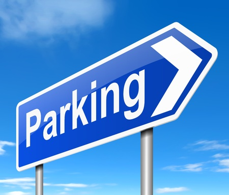 cars parking: Illustration depicting a sign directing to parking. Stock Photo