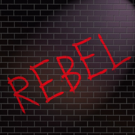 rebelling: Illustration depicting grafitti on a wall with a rebel concept. Stock Photo