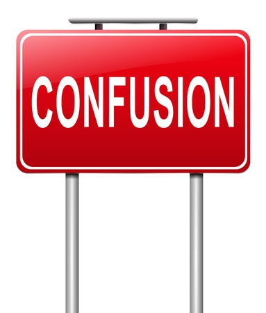 disorientation: Illustration depicting a sign with a confusion concept. Stock Photo