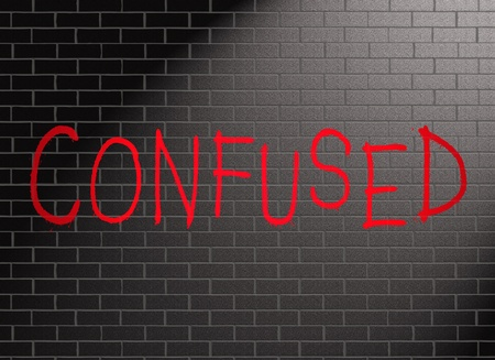 disorientation: Illustration depicting grafitti on a wall with a confused concept. Stock Photo