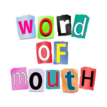 입의 단어 단어를 배열 형성 잘라 인쇄 된 문자의 집합을 묘사 한 그림. 스톡 콘텐츠