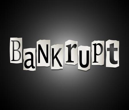 lacking: Illustration depicting a set of cut out printed letters formed to arrange the word bankrupt.