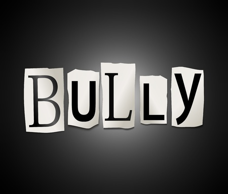 intimidation: Illustration depicting a set of cut out printed letters formed to arrange the word bully. Stock Photo