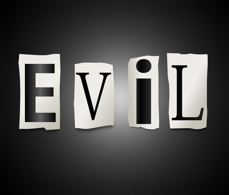 hideous: Illustration depicting a set of cut out printed letters formed to arrange the word evil. Stock Photo