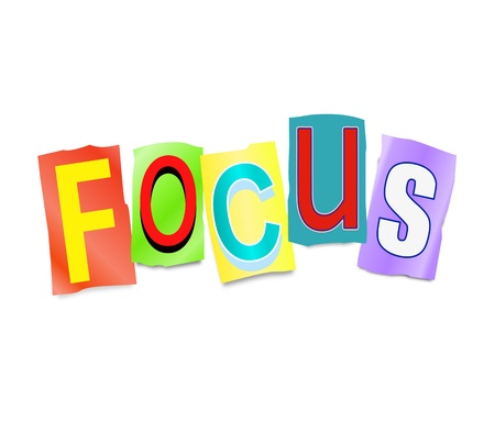 out of focus: Illustration depicting a set of cut out printed letters formed to arrange the word focus.