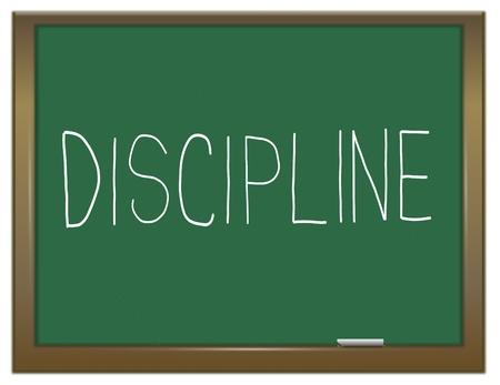 discipline: Illustration depicting a green chalkboard with a discipline concept.