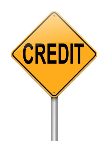 borrowing money: Illustration depicting a sign with a credit concept. Stock Photo