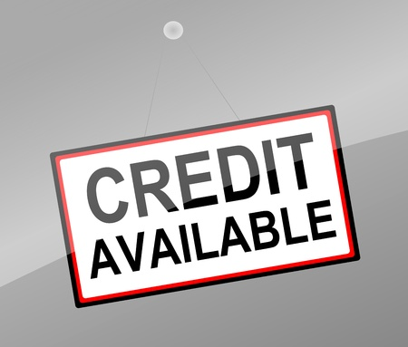 borrowing money: Illustration depicting a door sign with a credit concept. Stock Photo