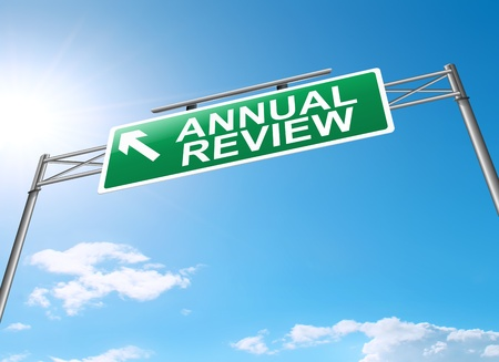 scrutiny: Illustration depicting a sign with an annual review concept.