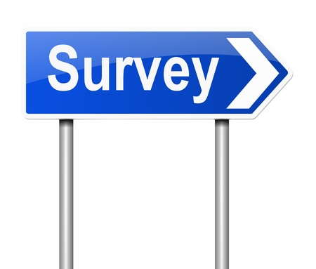reckoning: Illustration depicting a sign with a survey concept. Stock Photo