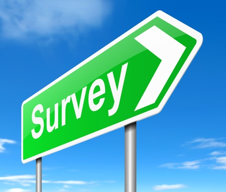 Illustration depicting a sign with a survey concept. Stock Photo