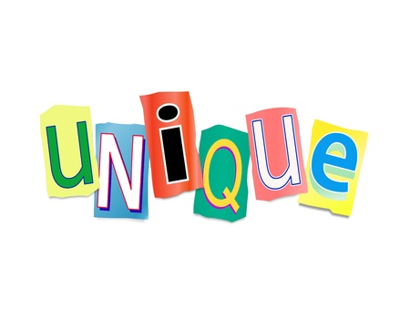 singular: Illustration depicting a set of cut out printed letters formed to arrange the word unique. Stock Photo