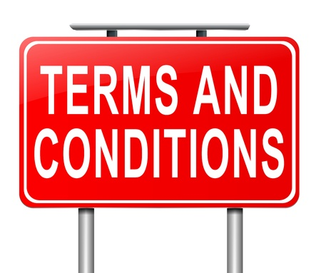 provisions: Illustration depicting a sign with a terms and conditions concept. Stock Photo