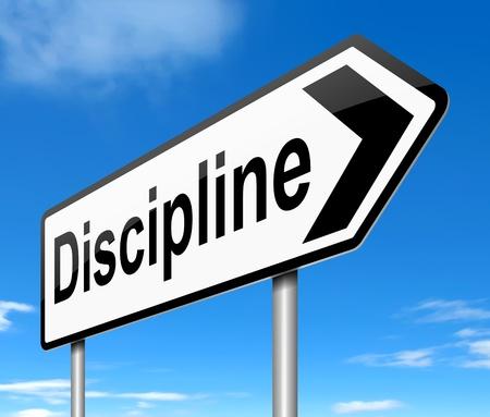 disciplina: Ilustración que muestra un letrero con un concepto de disciplina.