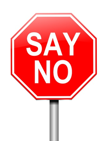 rejection: Illustration depicting a sign with a say no concept.