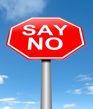 denial: Illustration depicting a sign with a say no concept.