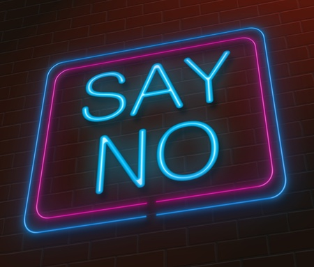 refusing: Illustration depicting an illuminated neon sign with a say no concept.