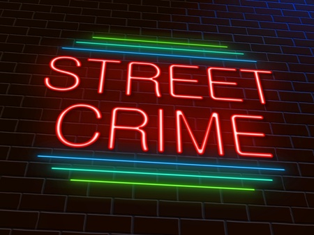 mugging: Illustration depicting an illuminated neon sign with a street crime concept. Stock Photo