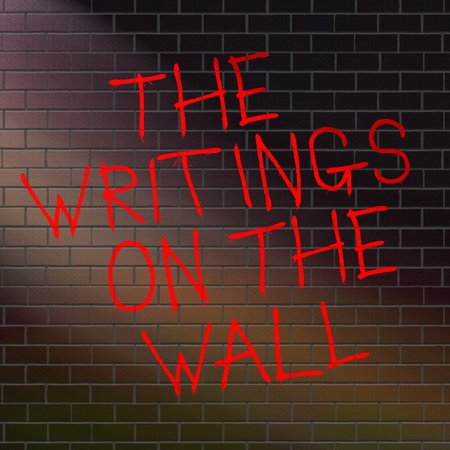 outcomes: Illustration depicting grafitti on a wall with a the writing on the wall concept. Stock Photo