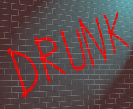 Illustration depicting grafitti on a wall with a drunk concept. illustration