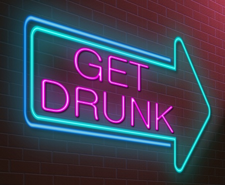 Illustration depicting an illuminated neon sign with a drunk concept. illustration