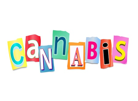Illustration depicting a set of cut out printed letters formed to arrange the word cannabis.