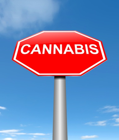 Illustration depicting a sign with a cannabis concept. Stock Photo