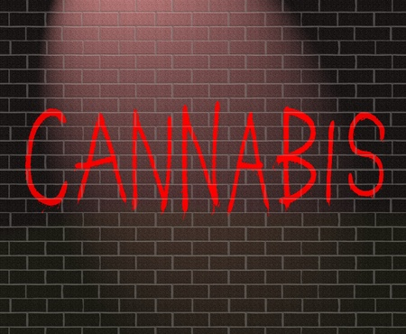 hashish: Illustration depicting graffiti on a brick wall with a Cannabis concept.