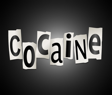 arrange: Illustration depicting a set of cut out printed letters formed to arrange the word cocaine.