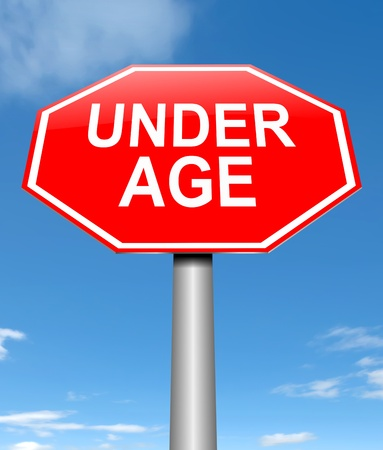 immature: Illustration depicting a sign with an under age concept. Stock Photo