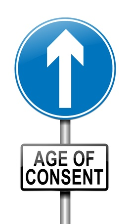underage: Illustration depicting a sign with an under age concept. Stock Photo