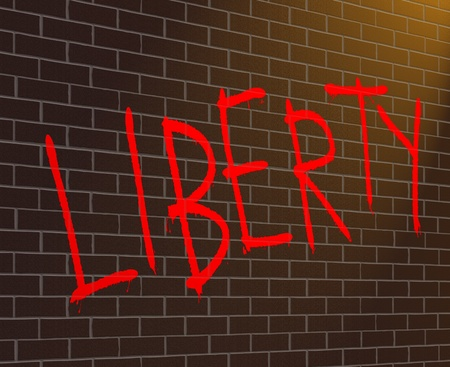 Illustration depicting graffiti on a brick wall with a liberty concept. illustration
