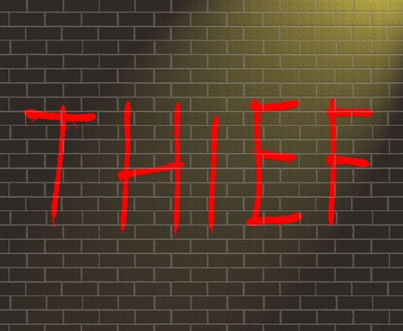 swindler: Illustration depicting graffiti on a brick wall with a thief concept. Stock Photo