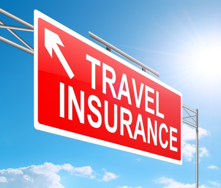 insurance policy: Illustration depicting a sign with a travel insurance concept.