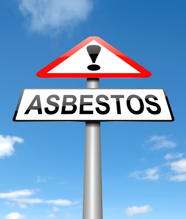 asbestos: Illustration depicting a sign with an asbestos concept.