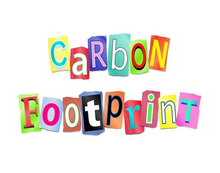 carbon monoxide: Illustration depicting a set of cut out printed letters formed to arrange the words carbon footprint.