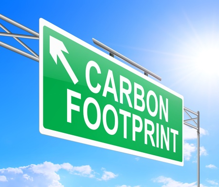 Illustration depicting a sign with carbon footprint concept.